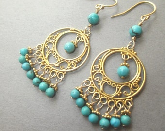 Heavenly Gold Turquoise Earrings