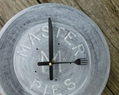Vintage Master Pies Clock- Pie Tin Clock-Kitchen Wall Clock- Unique Clock- Wall Clock