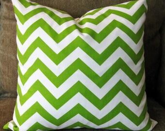 Decorative Pillow Covers,  ONE 18 x 18, Lime Green and White Chevron Strip Cotton Duck, Zipper Closure