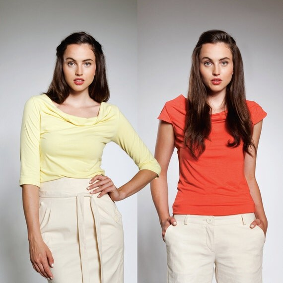 ANY TWO Florence Tops / Fall Blouse / Rust, Lichen, Tangerine, Pink / Cowl Neckline and Your Choice of Sleeve Style and Color / Florence Top