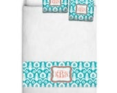 Custom Personalized Bed Runner - Scarf - Turquoise & White Ikat with Coral Accent- 3 bedding sizes