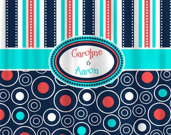 Mod Navy Coral and Turquoise  Multi Stripes and Dots Shower Curtain - available standard and ExLong