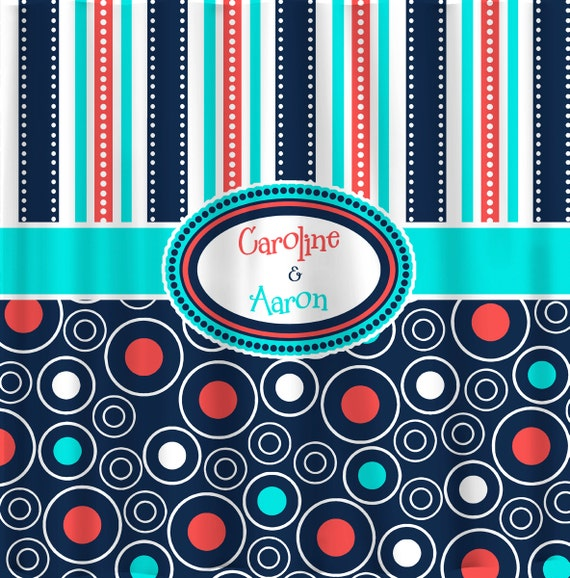 mod navy coral and turquoise multi stripes and dots by