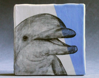 Hand Painted Bottlenose Dolphin Portrait Wall Tile Baby Blue