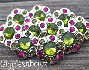Sale Sale!! RHiNeSToNe BuTToNS- Set of 10 LiME GReeN with SHoCKING PiNK Rhinestone Buttons Flower Centers Headband Supplies 18mm