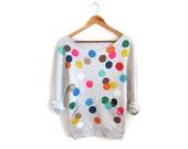SAMPLE SALE Colorful Confetti Hand STENCILED Deep Scoop Neck Heather Sweatshirt in Ash Grey Multi Rainbow - S M L