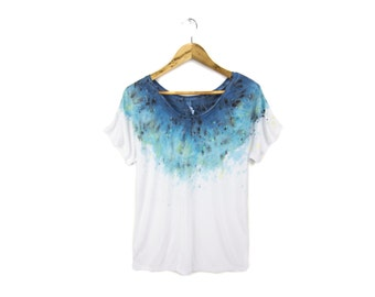 "Spectrum Starscape Tee - Original ""Splash Dyed"" Hand Painted Relaxed Fit Flowy Scoop Neck T-shirt in White - Women's Size S-2XL"