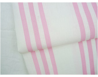 Hand-screen printed linen by the yard - pale pink stripe - off-white linen - celina mancurti