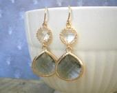 Grey Earrings, Crystal Earrings, Gold Earrings, Best Friend Birthday, Gift for Her, Gray Earrings