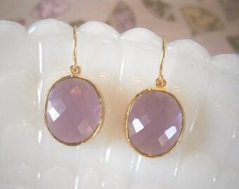 Clearance Sale, Jewelry Sale, Lavender Earrings, Gold Earrings, Bridesmaid Earrings, Best Friend Birthday