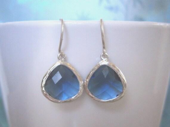 Sapphire Blue Earrings, Silver Kidney Earrings, Minimalist Jewelry, Simple, Modern, Everyday Jewelry