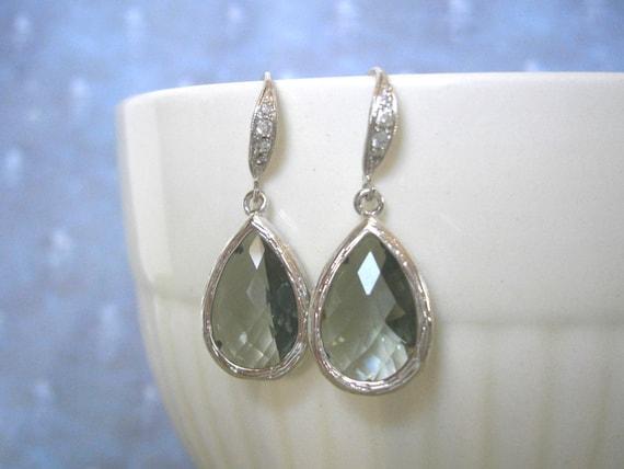 Gray Earrings, Teardrop EArrings, Silver CZ Earrings, Grey Earrings, Best Friend, Sister, Mother, Bride, Bridesmaid Jewelry