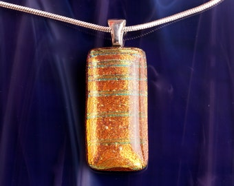 Handmade Dichroic Silver Fused Glass Silver Pendant Necklace