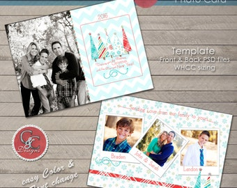 Christmas Photo Card -C&C Holiday Photo Card Selection #134 * Instant Download*
