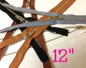 Silver teeth 12 inch zippers wholesale, FIVE pcs, metal YKK zippers with locking slider, nickel teeth, black, brown, grey, white