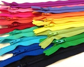 14 inch zippers, brights and lights, 15 dress, all purpose YKK zips, blue, mint, red, coral, pink, purple, green, yellow, orange, periwinkle