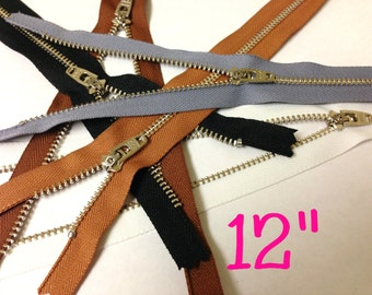 Silver teeth 12 inch zippers wholesale, FIVE pcs, metal YKK zippers with locking slider, nickel teeth, black, brown, grey, white