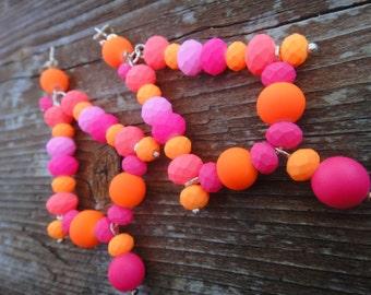 Neon Triangle Earrings/ Neon Orange and Pink Earrings/ Funky