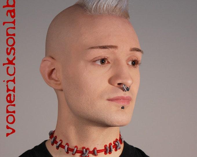 Frankenstein  Zombie Brite Red Blood  with Silver  Stitches Choker - wide stitch