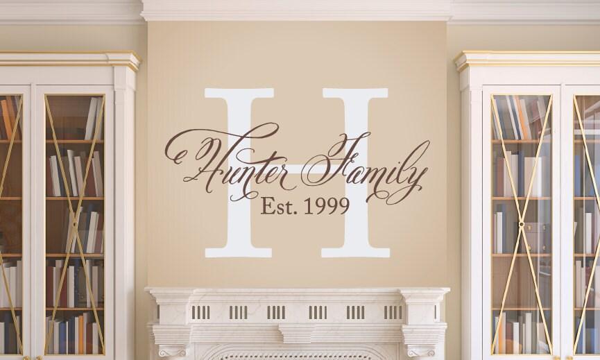 Elegant Family Wall Decal Family Monogram Vinyl Wall Decal