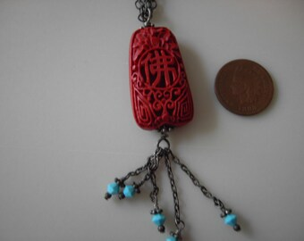 Cinnabar and Turquoise Necklace on Sterling Silver Chain