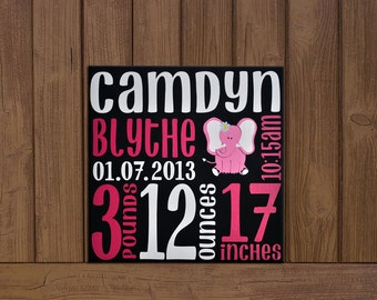 Custom Baby Birth Stats- Birth Announcement on Canvas with Elephant; Newborn Baby Canvas; Birth Stats Decor