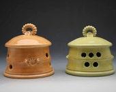 Handmade Stoneware Lidded Garlic Keeper ~ Colorful Fiesta!