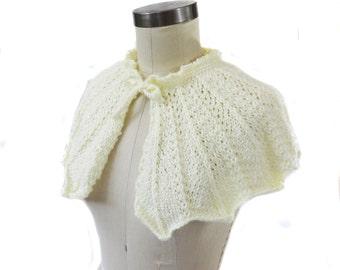 Ivory Wedding Capelet - Hand Knit - Bridal Capelet