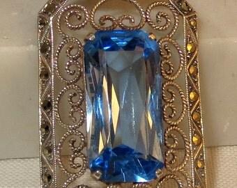 1930s German Art Deco Water Sapphire Pendant 935 Silver Marcasites Laurin Mark