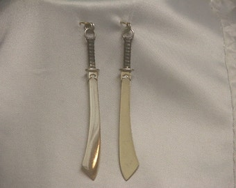 Shuang Dao Swords Dual Pendants in Sterlilng Silver -Ready to Ship