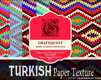 Turkish Rug-Paper Pack- INSTANT DOWNLOAD-5 Pages of Gorgeous Turkish Rug Paper Textures
