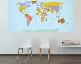 Current World Map Adhesive Wall Decal