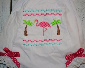 Flamingo Bloomers Diaper Cover  with smocked look