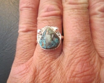 Sterling Silver Morenci Turquoise Ring - Size 9 1/2 - FREE RESIZING