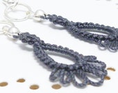 Small Lace Dangle Earrings in gray -Frilly Drips simple lace earrings charcoal gray