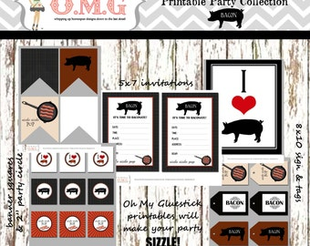 Rustic Bacon Pig Cooking Party Bundle