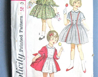 Vintage 1950s Simplicity 3759 Child's One Piece Dress  Sewing Pattern  Size 2
