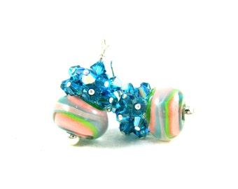 Teal Crystal Earrings, Pink Teal Blue Green Earrings, Boro Lampwork Earrings, Pastel Earrings, Colorful Earrings, Glass Earrings - Mermaid