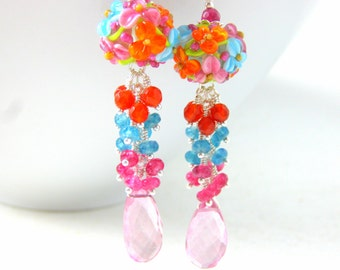 Colorful Floral Dangle Earrings, Gemstone Earrings, Pink Blue Orange Lampwork Earrings, Pink Quartz Blue Jade Carnelian Earrings, Summer