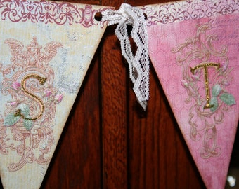 Easter banner, vintage inspired, with gold glitter and rhinestones