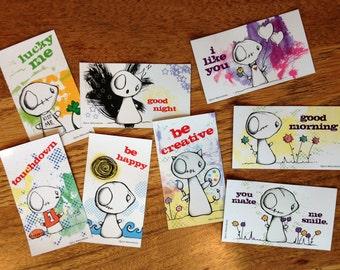 Set of 8 Magnets - Original Illustrations