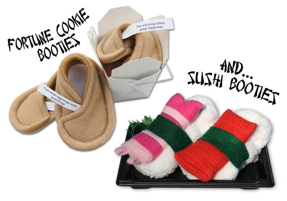 Fortune Cookie Booties® AND Sushi Booties® - Two Pairs of Baby Shoes