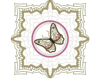Machine Embroidery Design- Butterfly 05-Quilt Block-3 sizes included!