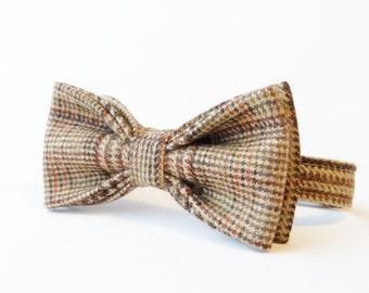 Boys Bow Tie - Brown/Beige/Orange Plaid Wool Tweed
