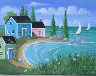Spring Meadow Folk Art Print