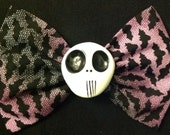 Large bats skull fabric bow