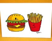 Hamburger and Fries Blank Note Card w/ Astro Bright Envelope
