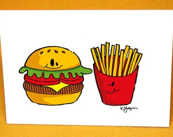 Hamburger and Fries Blank Greeting Card w/ Astro Bright Envelope