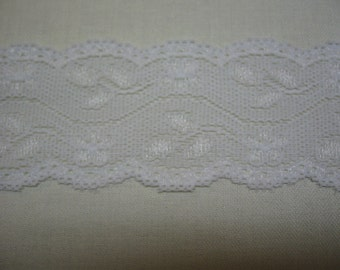 """2"""" White Double Scalloped STRETCH Lace Lingerie Childrens Clothing Headbands Crafts 5 yards"""