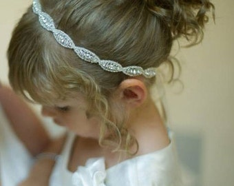 Flower girl, Headpiece, Headband, Flower Girl Hair Accessories, Child Headband, Weddings, Bridal Accessories, Rhinestone headband, Gift